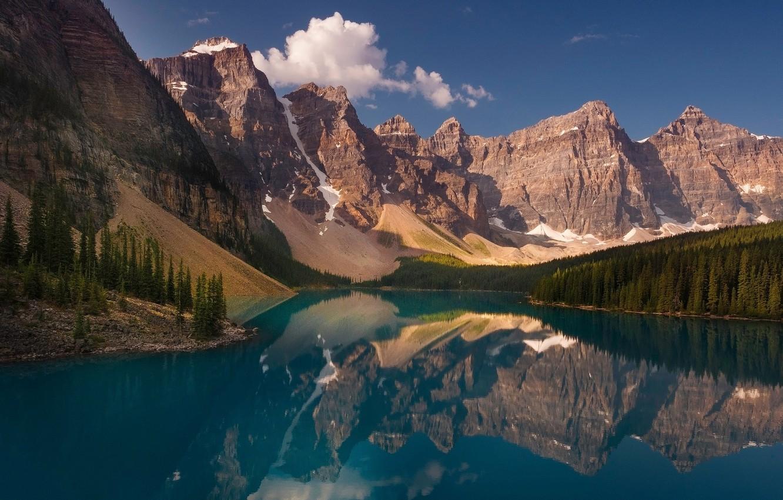 Фото обои лес, горы, озеро, отражение