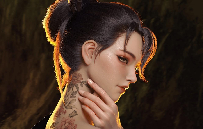 Фото обои взгляд, девушка, японка, рука, тату, арт