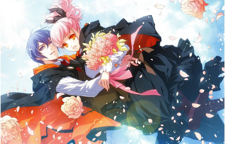 Фото обои лепестки роз, голубое небо, розовые волосы, wand of fortune, lulu, visual novel, букет роз, julius …
