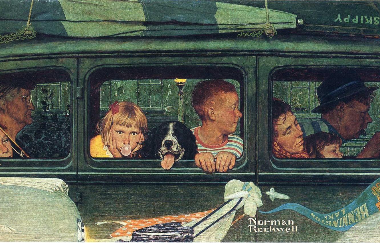 Фото обои машина, лодка, собака, семья, поездка, Norman Rockwell, Иллюстрация