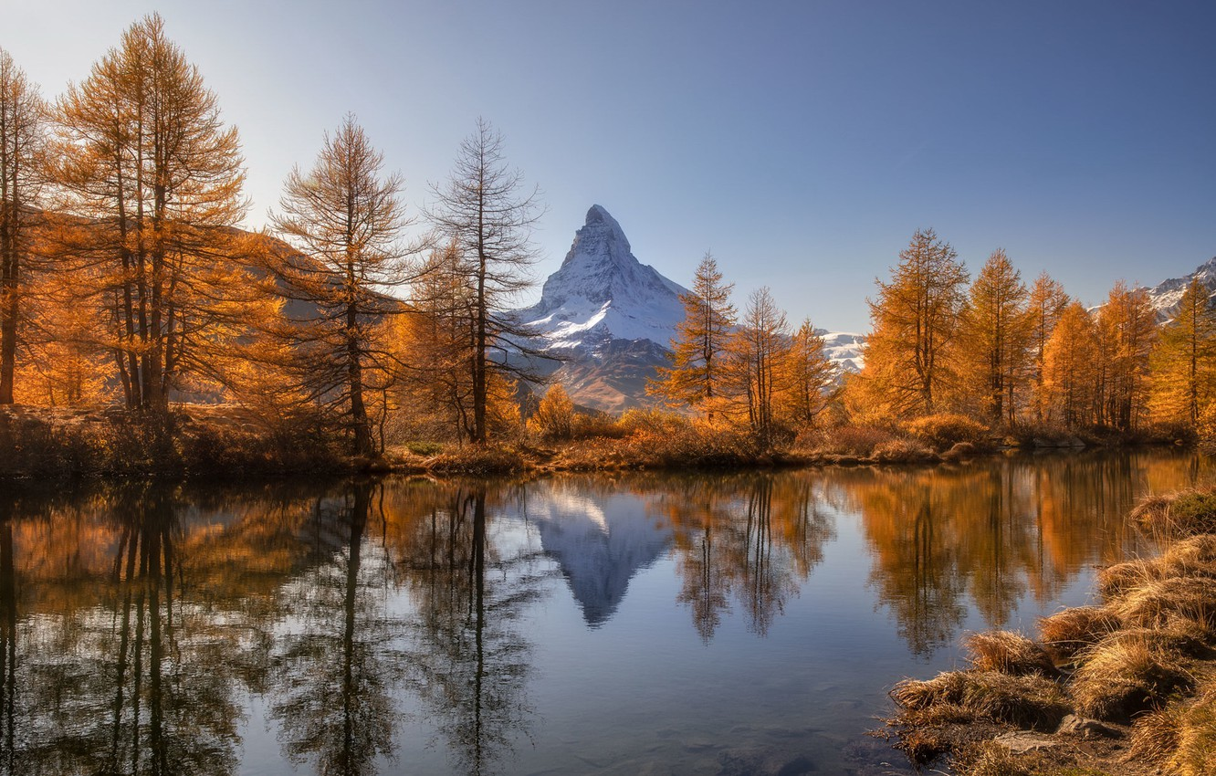 Фото обои Switzerland, Autumn, Mountains, Lake, Matterhorn