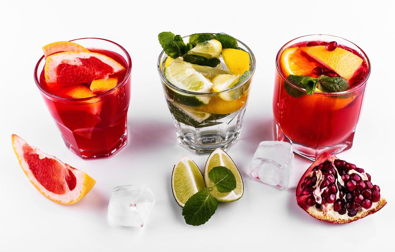 Фото обои лед, алкоголь, лайм, напиток, грейпфрут, гранат