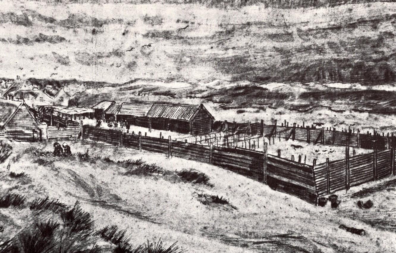 Фото обои ферма, Vincent van Gogh, Fish-Drying Barn 2