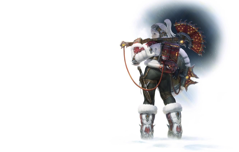 Фото обои зима, девушка, воин, Illustrator, AGOTO -, Frost - Mercenary_Axe Hunter