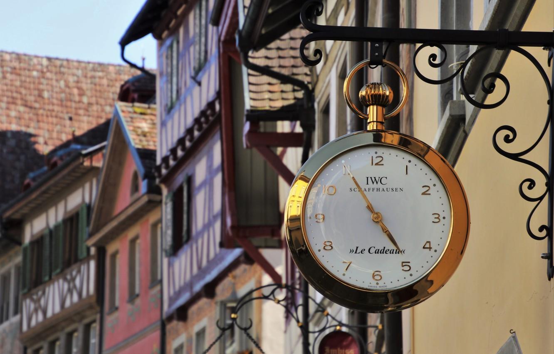 Фото обои город, улица, часы, боке
