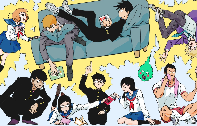 Фото обои аниме, арт, персонажи, Mob Psycho 100, Моб психо 100
