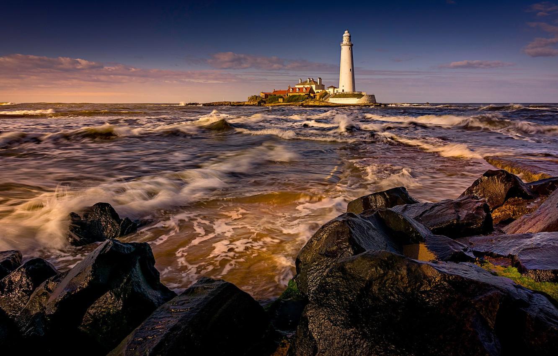 Фото обои море, волны, пейзаж, закат, природа, камни, маяк, прибой