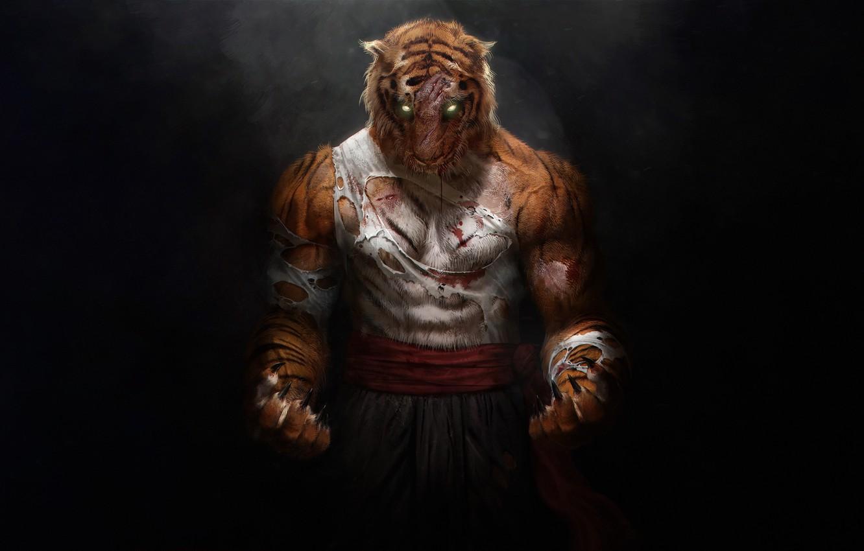 Фото обои Тигр, Fantasy, Арт, Art, Tiger, Фантастика, Beast, Illustration, Concept Art, Миф, by Aboy Ningthouja, Aboy ...