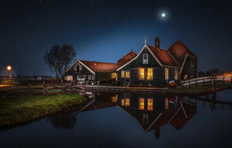 Обои особняк, дома, ночь. Рендеринг foto 16