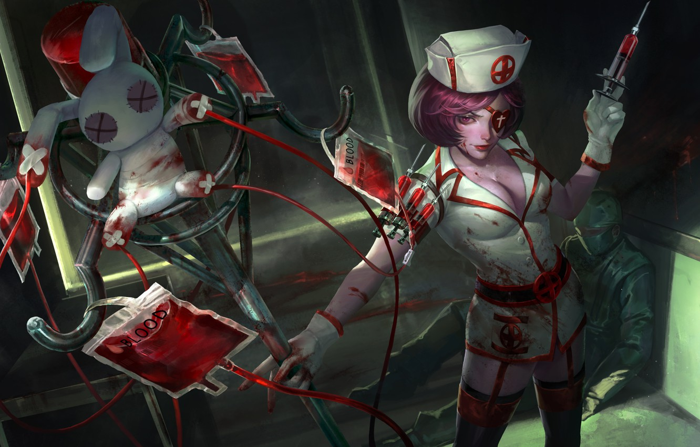 Фото обои грудь, кровь, кролик, костюм, медсестра, шприц, art, Heroes of Newerth, Voodoo Jester, Painkiller