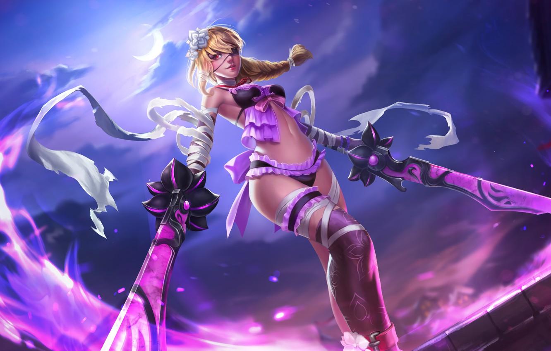 Фото обои грудь, взгляд, девушка, тело, меч, блондинка, повязка, Heroes of Newerth, Swiftblade, Deathbloom