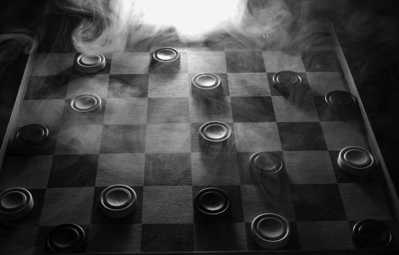 Фото обои дым, доска, шашки