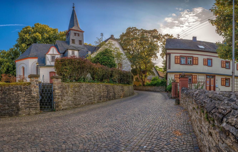 Фото обои деревья, улица, дома, Германия, заборы, Miehlen