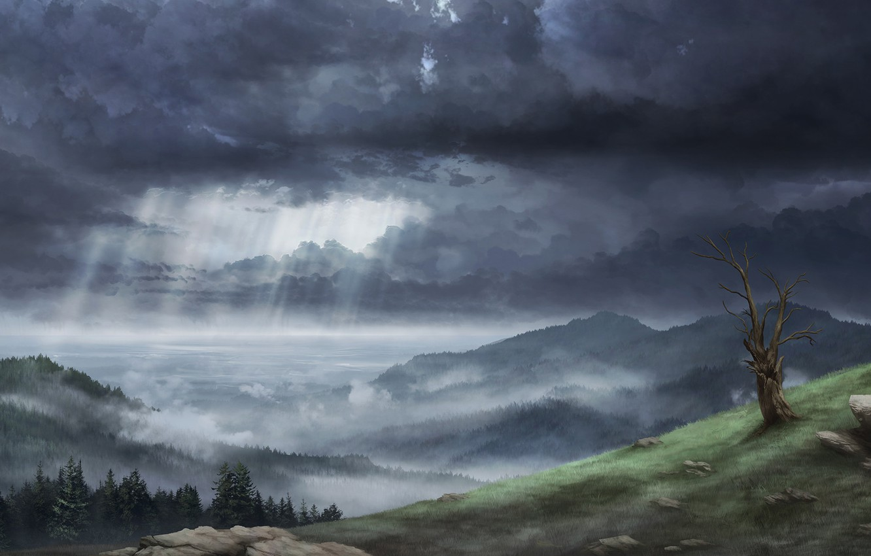 Фото обои Облака, Горы, Лес, Тучи, Лучи, Холмы, Пейзаж, Clouds, Арт, Art, Landscape, Mountains, Forest, Hills, Rays, …