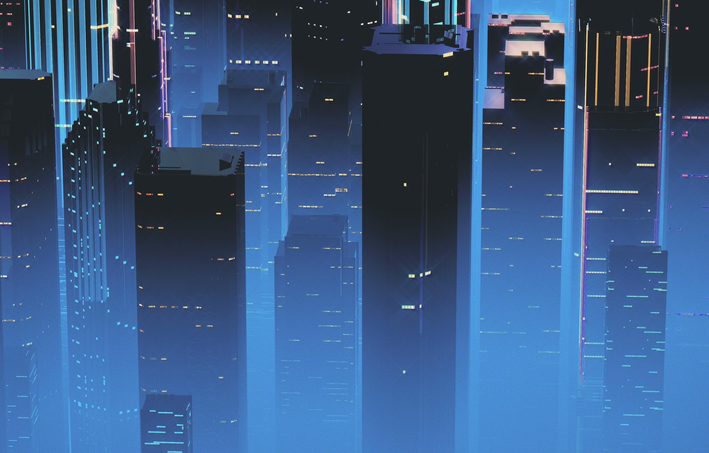 Фото обои Ночь, Музыка, Город, Небоскребы, Фон, Neon, 80's, Synth, Retrowave, Synthwave, New Retro Wave, Futuresynth, Синтвейв, …