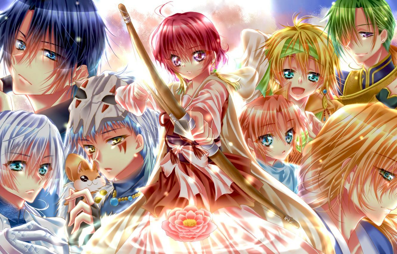 Фото обои цветок, девушка, драконы, аниме, лук, арт, стрела, парни, персонажи, Рассвет Йоны, Akatsuki no Yona