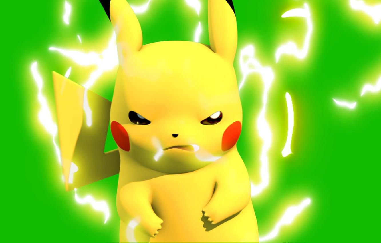 Фото обои мышь, разряд, пикачу, электрический, покемон, pokemon, pikachu