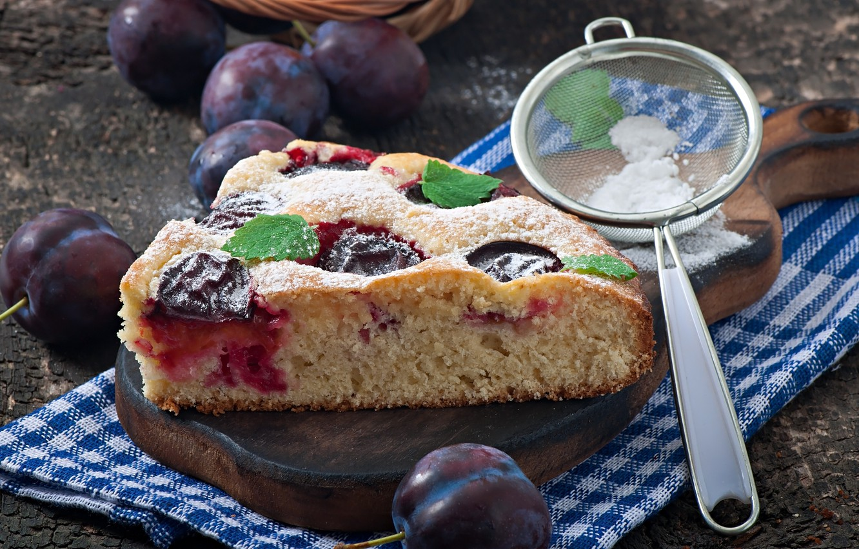 Обои пирог, сливы, сливовый, кофе, выпечка. Еда foto 9