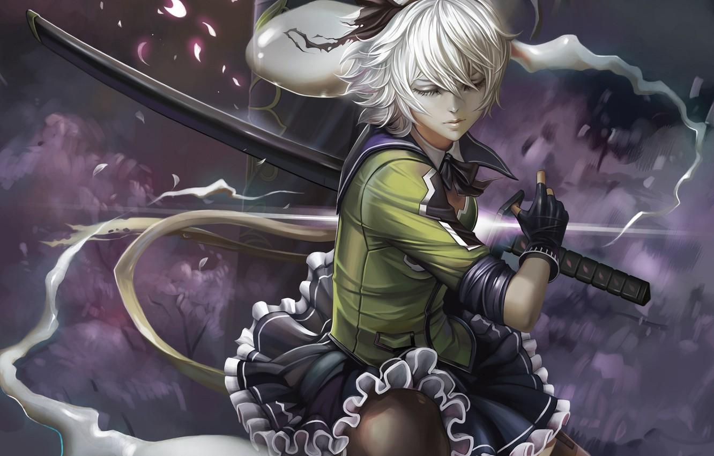 Фото обои девушка, меч, арт, touhou