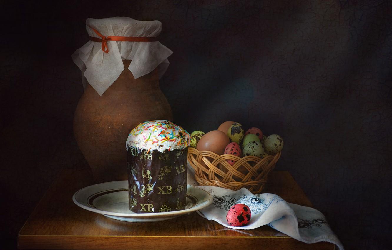 Фото обои праздник, яйцо, Пасха, посуда, кувшин, натюрморт, кулич