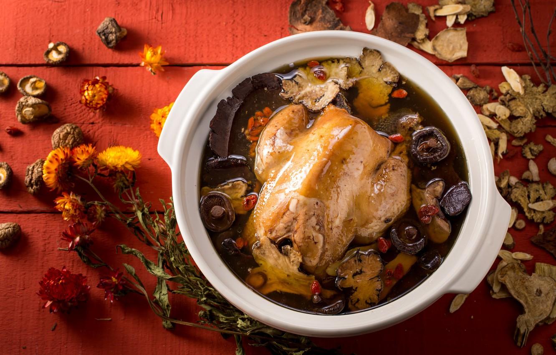 Фото обои грибы, еда, курица