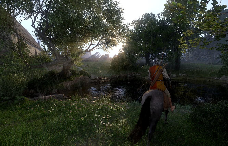 Фото обои поле, лес, пейзаж, конь, доспехи, чехия, Kingdom Come Deliverance, средние века, Kingdom Come