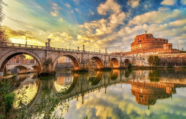 Фото обои мост, замок, Рим, Италия, Castel S'angelo