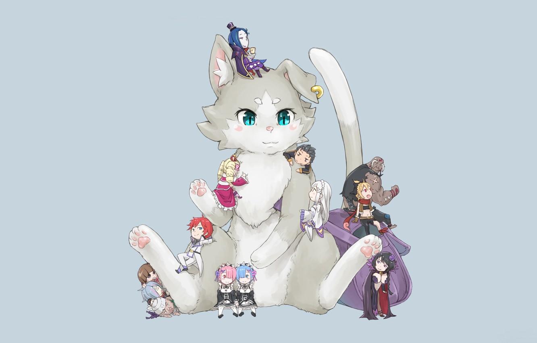 Фото обои кот, существо, серый фон, принцесса, персонажи, beatrice, чибики, горничные, pak, жизнь с нуля в другом …