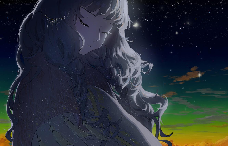 Фото обои небо, девушка, звезды