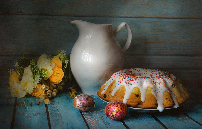 Фото обои цветы, стол, яйцо, букет, посуда, кувшин, натюрморт, кулич