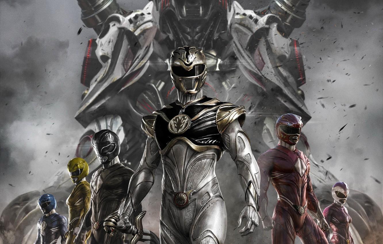Фото обои white tiger, Power Rangers, red ranger, yellow ranger, zord, white ranger, blue ranger, black ranger, …
