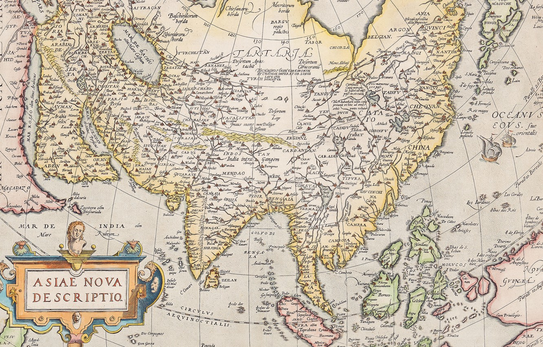 Фото обои Азия, атлас, old maps, старые карты, Abraham Ortelius, Theatrum Orbis Terrarum, Antwerpen 1574–1612, Asia Nova …