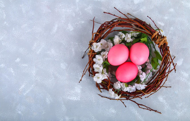 Фото обои цветы, яйца, Пасха, корзинка, flowers, eggs, easter, decoration