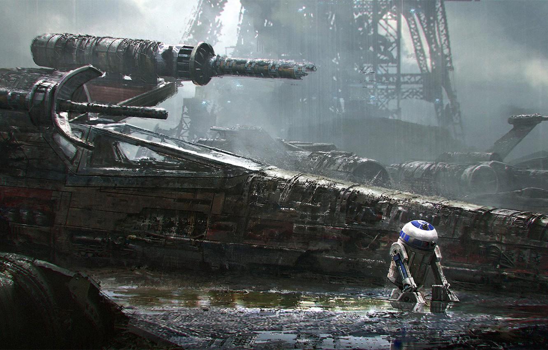 Фото обои Star Wars, звёздные войны, R2-D2, Sci-Fi, X-wing, emmanuel shiu, Звёздный истребитель T-65 X-крыл, астромеханический дроид, ...
