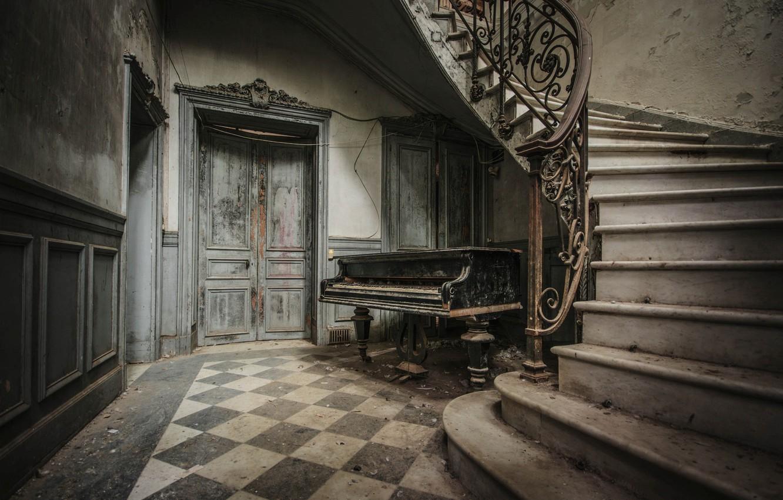 Фото обои лестница, ступени, пианино