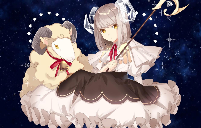 Фото обои животное, аниме, арт, девочка, рога, овен, барашка