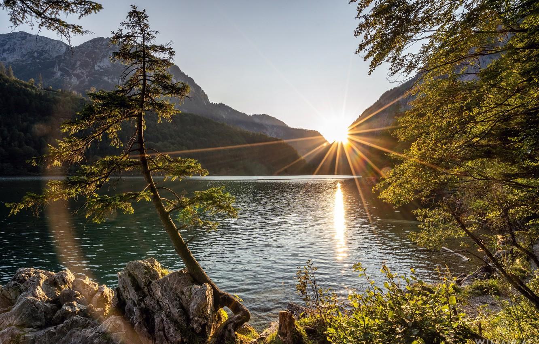 Фото обои деревья, закат, горы, озеро, Австрия, Austria, Штирия, Styria, Озеро Леопольдштайнер, Leopoldsteinersee, Hochschwab Mountains, Хохшваб