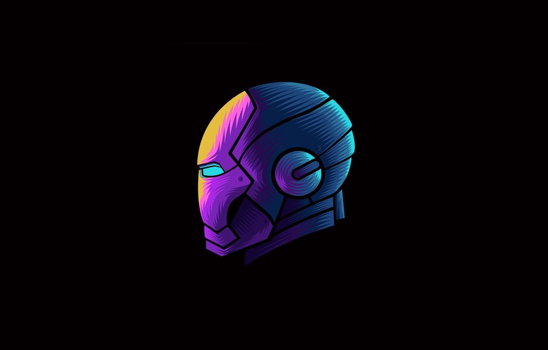 Фото обои colorful, fantasy, minimalism, Iron Man, Marvel, digital art, artwork, mask, superhero, black background, fantasy art, …
