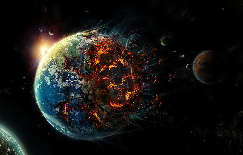 Фото обои Планета, Земля, Апокалипсис, Конец Света, Уничтожение