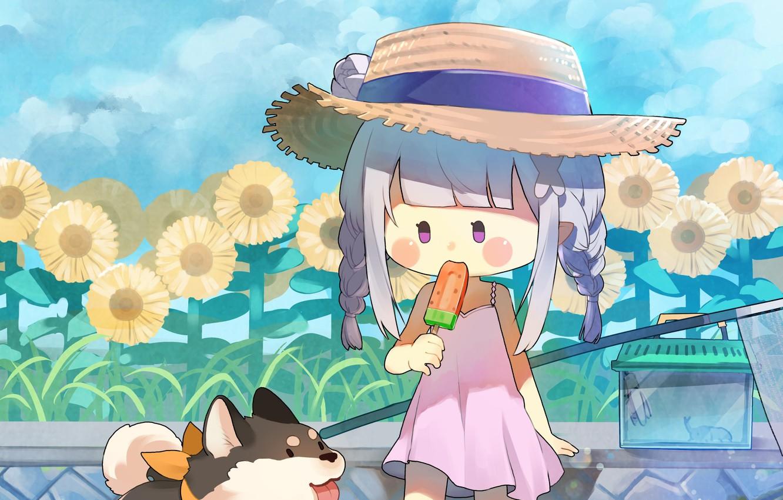 Фото обои цветы, девочка, собачка