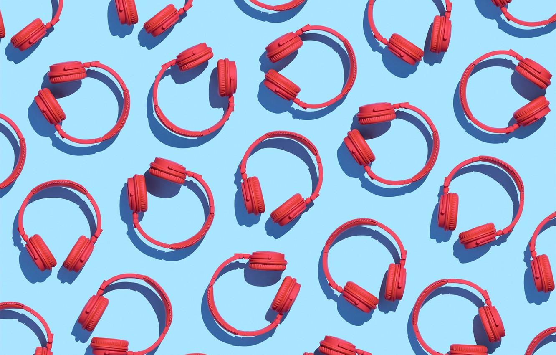 Фото обои красный, фон, голубой, наушники, паттерн