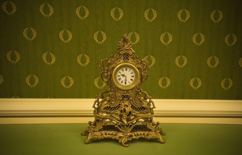 Фото обои ретро, часы, старинные, зеленые обои, барокко, дорого богато