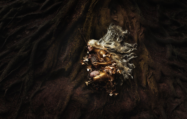 Фото обои листья, фон, шишка, дриада, ствол дерева, волосы длинные, девушка art