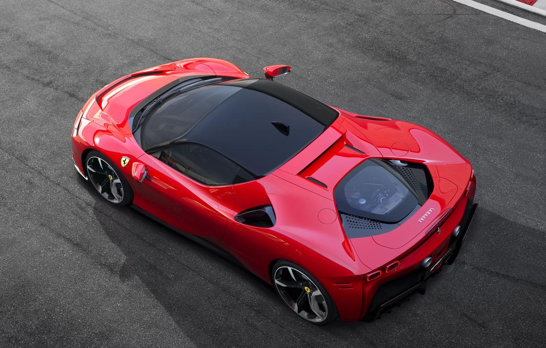 Фото обои Ferrari, спорткар, диски, вид сверху, Stradale, SF90