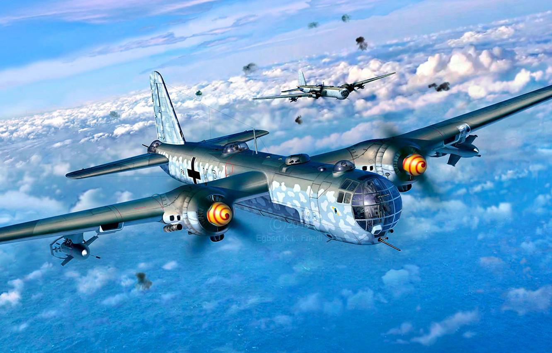 Фото обои Greif, вооружен, тяжёлый бомбардировщик, WWII, управляемая планирующая бомба, Heinkel He.177A-5, Двигатель DB 610, FX-1400