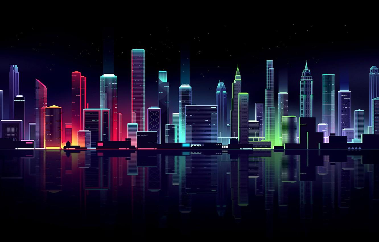 Фото обои небо, вода, ночь, город, огни, отражение, река, дома, звёзды, небоскрёбы