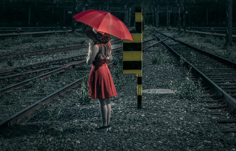 Фото обои девушка, зонт, железная дорога