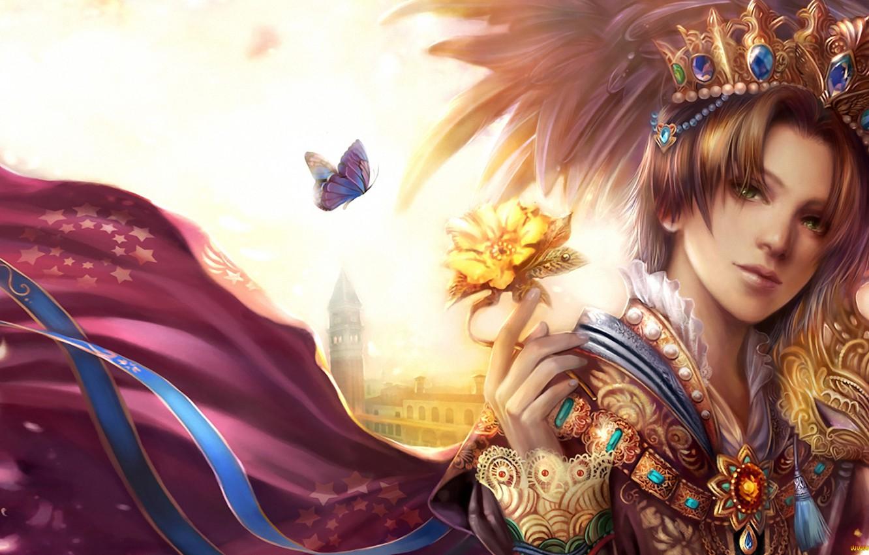 Фото обои бабочка, башня, корона, мантия, жемчуг, принц, дворец, зеленые глаза, блондин, золотая роза, драгоценное украшение