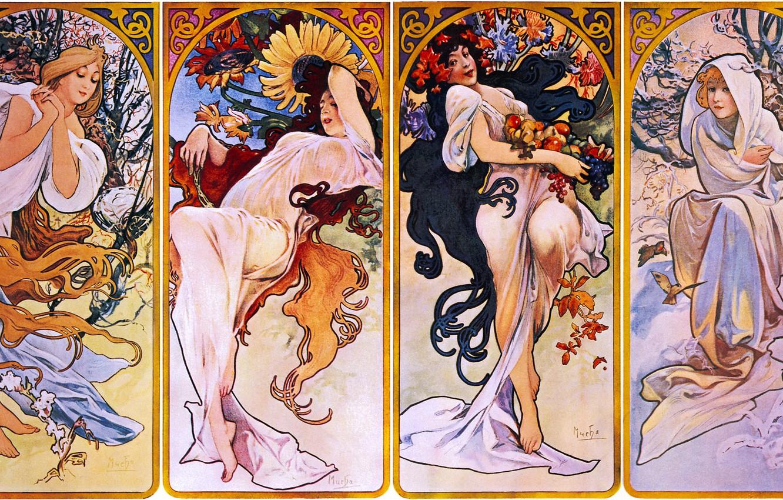 Фото обои зима, осень, лето, времена года, весна, 1895, Альфонс Муха, Сезоны