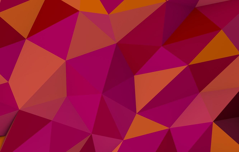 Фото обои фон, треугольники, углы, pink, background, pattern, orange, многогранники, polygon